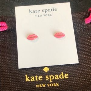 Kate Spade NWOT Lips Pink Enamel Stud Earrings